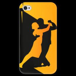 """Чехол для iPhone 4 глянцевый, с полной запечаткой """"Танго в ночи"""" - музыка, танец, ночь, танго"""