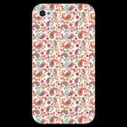 """Чехол для iPhone 4 глянцевый, с полной запечаткой """"Пейсли (Яркий)"""" - лепестки, цветы, цветок, узор, пейсли"""