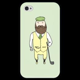 """Чехол для iPhone 4 глянцевый, с полной запечаткой """"Джентльмен с клюшкой для гольфа"""" - мяч, борода, джентльмен, гольф, клюшка"""