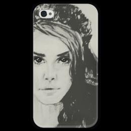 """Чехол для iPhone 4 глянцевый, с полной запечаткой """"Lana Del Rey"""" - арт, девушка, графика, люди, beauty, lana del rey, lana, лана дель рей"""