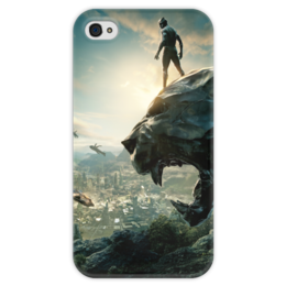 """Чехол для iPhone 4 глянцевый, с полной запечаткой """"Чёрная пантера"""" - черная пантера, марвел, мстители, marvel, black panther"""