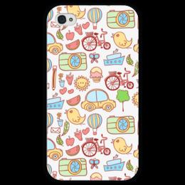"Чехол для iPhone 4 глянцевый, с полной запечаткой ""All stuff"" - арт, коллаж, машинка"