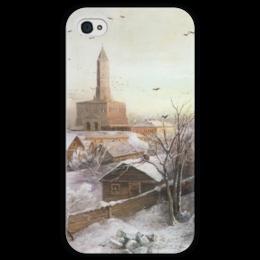"""Чехол для iPhone 4 глянцевый, с полной запечаткой """"Сухарева башня"""" - картина, саврасов"""