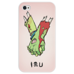 "Чехол для iPhone 4 глянцевый, с полной запечаткой ""I love you (зомби)"" - хэллоуин, зомби, руки, парные, i love you"