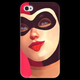 """Чехол для iPhone 4 глянцевый, с полной запечаткой """"Харли Квинн"""" - комиксы, бэтмен, harley quinn, batman, dc comics"""