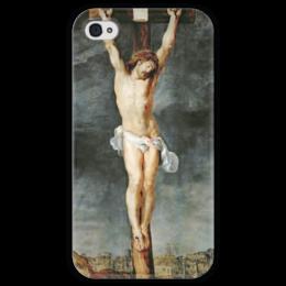 """Чехол для iPhone 4 глянцевый, с полной запечаткой """"Христос на кресте"""" - картина, рубенс"""