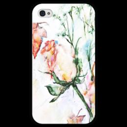 """Чехол для iPhone 4 глянцевый, с полной запечаткой """"Сонет"""" - цветок, роза, розовый, нежность, бутон"""