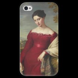 """Чехол для iPhone 4 глянцевый, с полной запечаткой """"Портрет молодой дамы в красном платье"""" - картина, лейболд"""
