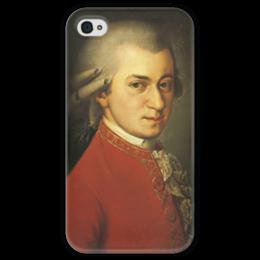 """Чехол для iPhone 4 глянцевый, с полной запечаткой """"Портрет Вольфганга Амадея Моцарта"""" - картина, крафт"""