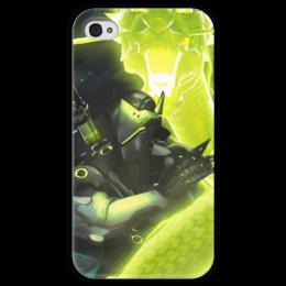 """Чехол для iPhone 4 глянцевый, с полной запечаткой """"Гэндзи"""" - blizzard, близзард, overwatch, овервотч, genji"""