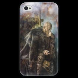 """Чехол для iPhone 4 глянцевый, с полной запечаткой """"vanity"""" - викинги, рагнар, рагнарлодброк"""