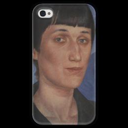 """Чехол для iPhone 4 глянцевый, с полной запечаткой """"Портрет Анны Ахматовой"""" - картина, петров-водкин"""