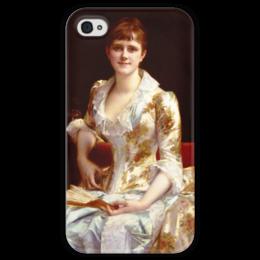"""Чехол для iPhone 4 глянцевый, с полной запечаткой """"Портрет молодой леди"""" - картина, кабанель"""