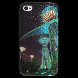"""Чехол для iPhone 4 глянцевый, с полной запечаткой """"Сады будущего"""" - future, фэнтэзи, marina bay garden, сады будущего"""