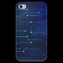 """Чехол для iPhone 4 глянцевый, с полной запечаткой """"Матрица"""" - компьютер, матрица, плата, чип, микросхема"""