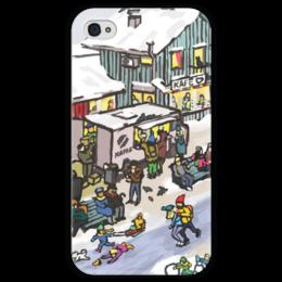 """Чехол для iPhone 4 глянцевый, с полной запечаткой """"Winter town"""" - скандинавия, зима, коньки, новый год, зимний город"""
