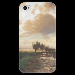 """Чехол для iPhone 4 глянцевый, с полной запечаткой """"Просёлок"""" - картина, саврасов"""