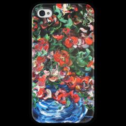 """Чехол для iPhone 4 глянцевый, с полной запечаткой """"Лед и пламя"""" - весна, в подарок, красота, девушке, розочки"""