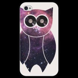 """Чехол для iPhone 4 глянцевый, с полной запечаткой """"Сова-космос"""" - арт, модно, стиль, хочу, космос, сова, swag, owl, space"""