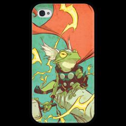"""Чехол для iPhone 4 глянцевый, с полной запечаткой """"Comics Art Series: Тор"""" - рисунок, супергерои, марвел, superhero, тор"""