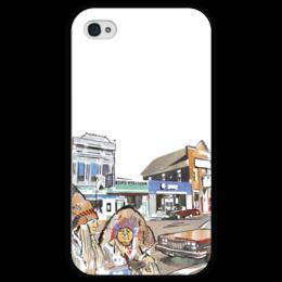 """Чехол для iPhone 4 глянцевый, с полной запечаткой """"Индейцы. Путешествие по США"""" - авто, сша, автомобили, путешествия, машины, индейцы"""