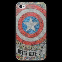 """Чехол для iPhone 4 глянцевый, с полной запечаткой """"Капитан Америка"""" - комиксы, кэп, марвел, captain america"""