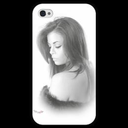 """Чехол для iPhone 4 глянцевый, с полной запечаткой """"subtlety"""" - девушка, стиль, фото, женская, рисунок, черно-белое, чб, нежность, утонченность"""