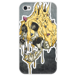 """Чехол для iPhone 4 глянцевый, с полной запечаткой """"Gold skull"""" - skull, череп, золото, смерть, gold"""