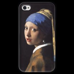 """Чехол для iPhone 4 глянцевый, с полной запечаткой """"Девушка с жемчужной серёжкой (Ян Вермеер)"""" - картина, портрет, вермеер"""