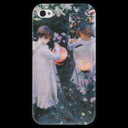 """Чехол для iPhone 4 глянцевый, с полной запечаткой """"Гвоздика, лилия, лилия, роза"""" - картина, сарджент"""