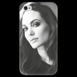 """Чехол для iPhone 4 глянцевый, с полной запечаткой """"Анджелина Джолли """" - актриса, анджелина джолли, angelina jolie"""