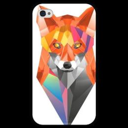 """Чехол для iPhone 4 глянцевый, с полной запечаткой """"Лисица"""" - лис, fox, лиса, полигоны"""