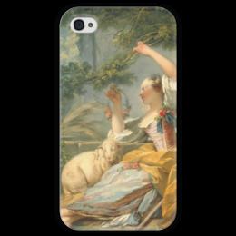 "Чехол для iPhone 4 глянцевый, с полной запечаткой ""Пастушка"" - картина, фрагонар"