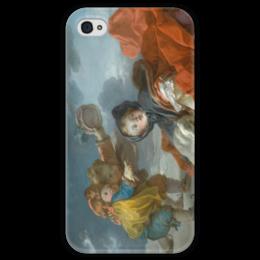 "Чехол для iPhone 4 глянцевый, с полной запечаткой ""Зима (Картина Фрагонара)"" - картина, фрагонар"