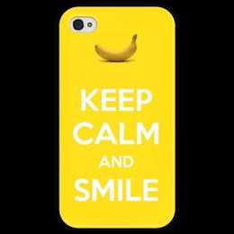 """Чехол для iPhone 4 глянцевый, с полной запечаткой """"Будь спокоен и улыбайся"""" - smile, улыбайся, желтый, keep calm, будь спокоен"""