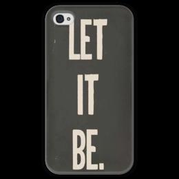 "Чехол для iPhone 4 глянцевый, с полной запечаткой ""let it be"" - the beatles, битлз, пусть будет так"