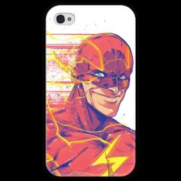 """Чехол для iPhone 4 глянцевый, с полной запечаткой """"Флэш (Flash)"""" - flash, комиксы, dc, dc comics, флэш"""
