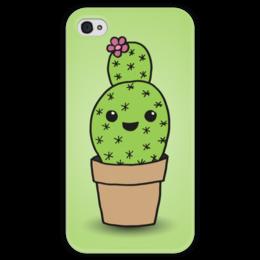 """Чехол для iPhone 4 глянцевый, с полной запечаткой """"Милый кактус"""" - арт, цветок, кактус"""