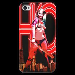 """Чехол для iPhone 4 глянцевый, с полной запечаткой """"Харли Квинн"""" - комиксы, harley quinn, отряд самоубийц, suicide squad, марго робби"""