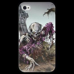 """Чехол для iPhone 4 глянцевый, с полной запечаткой """"Мертвец (зомби)"""" - хэллоуин, zombie, зомби, скелет, мертвец"""