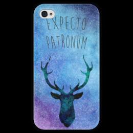 """Чехол для iPhone 4 глянцевый, с полной запечаткой """"Expecto Patronum"""" - арт, hogwarts, harry potter, гарри поттер"""