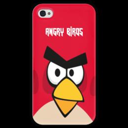 """Чехол для iPhone 4 глянцевый, с полной запечаткой """"Angry Birds (Terence)"""" - terence, злые птички, angry birds, мультфильм, компьютерная игра"""
