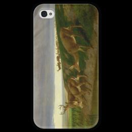 """Чехол для iPhone 4 глянцевый, с полной запечаткой """"Deer on the Prairie"""" - картина, олени, берд"""