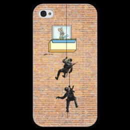 """Чехол для iPhone 4 глянцевый, с полной запечаткой """"Ну погоди"""" - арт, ну погоди"""