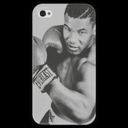 """Чехол для iPhone 4 глянцевый, с полной запечаткой """"Mike Tyson Iron """" - бокс, боксёр, майк тайсон, mike tyson, iron mike"""