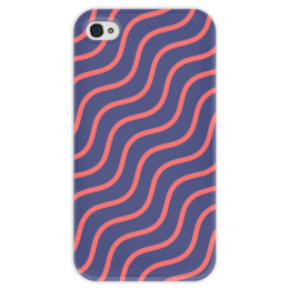 """Чехол для iPhone 4 глянцевый, с полной запечаткой """"Волнистый"""" - узор, рисунок, полосы, стильный, волны"""