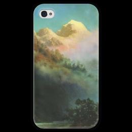 "Чехол для iPhone 4 глянцевый, с полной запечаткой ""Восход солнца (картина Архипа Куинджи)"" - картина, архип куинджи"