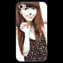 "Чехол для iPhone 4 глянцевый, с полной запечаткой ""Anime Girl"" - anime, girl, cat, аниме, кошка, whiskers, усики"
