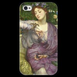 """Чехол для iPhone 4 глянцевый, с полной запечаткой """"Лесбия и её воробушек"""" - картина, пойнтер"""