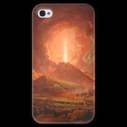 """Чехол для iPhone 4 глянцевый, с полной запечаткой """"Извержение Везувия (картина Райта)"""" - картина, райт"""